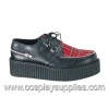 Creeper-406 Black Leather/Plaid